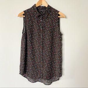 Polka Dot Black Sleeveless Blouse Size Medium